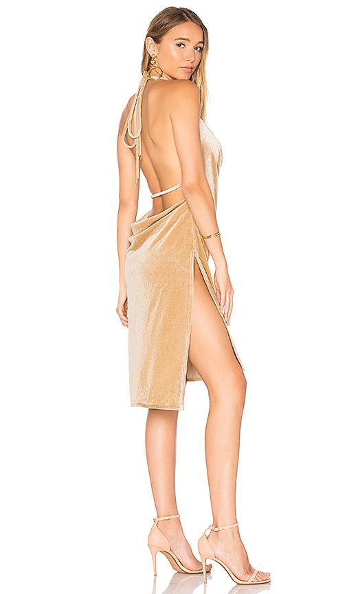 Lioness Vegas Velvet Mini Dress In Beige