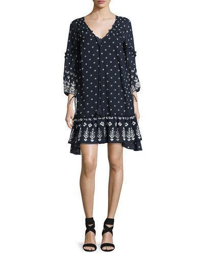 Derek Lam 10 Crosby Bell-sleeve Embroidered Ruffle Dress, Navy