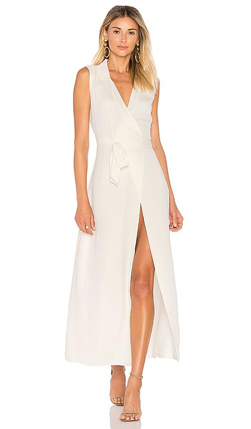L'academie The Sleeveless Wrap Dress In Ivory.