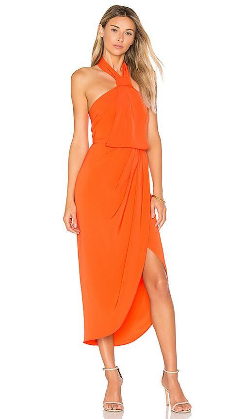 Shona Joy Knot Draped Dress In Coral