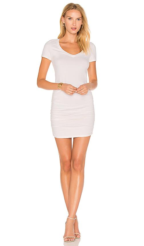 Michael Stars Ruched T Shirt Dress In Cream