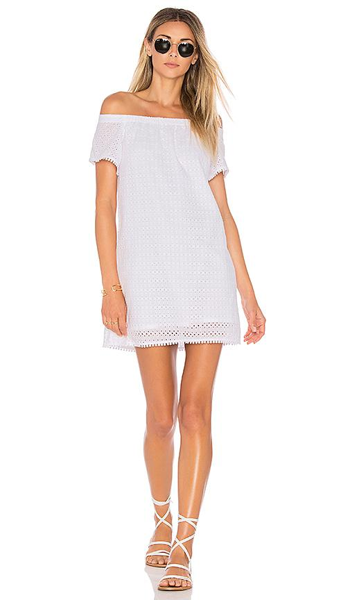 Michael Stars Off The Shoulder Eyelet Dress In White