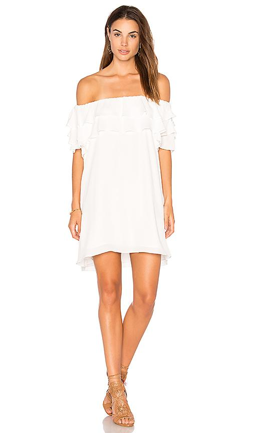 Krisa Off Shoulder Ruffle Dress In White