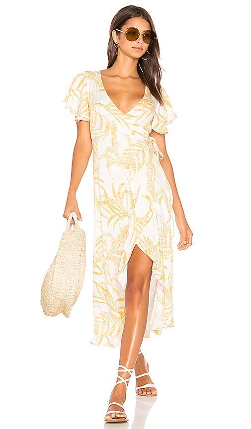 Minkpink Paradise Waterfall Wrap Dress In Yellow