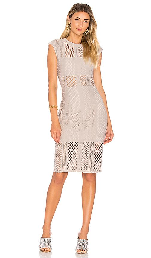 Twenty Crafted Mesh Midi Dress In Taupe