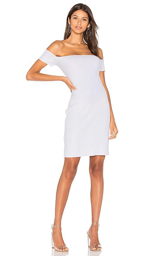 Nytt Rib Off Shoulder Dress In White