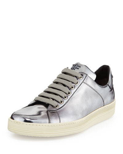 Tom Ford Metallic Leather Low Top Sneaker In Silver