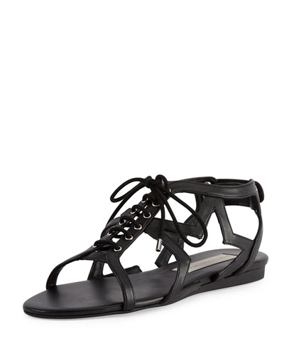Stella Mccartney Star-Cutout Lace-Up Faux Leather Sandals In Black
