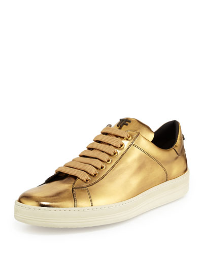 Tom Ford Mirror Leather Tf Low-Top Sneaker, Gold