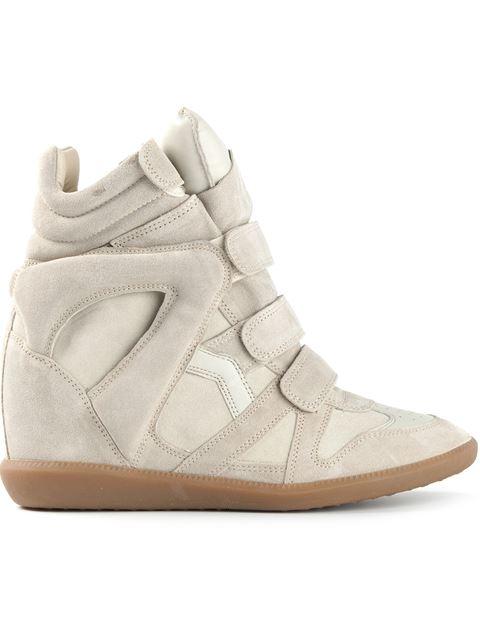 Isabel Marant Suede Wedge Sneakers In 23Ec Ecru