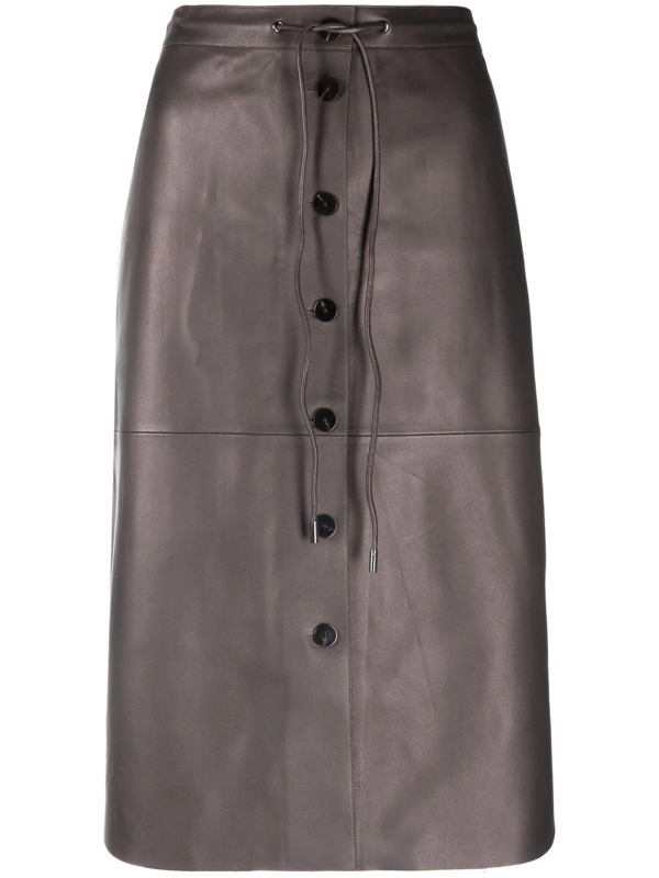 Theory Button-front Leather Skirt In Grau