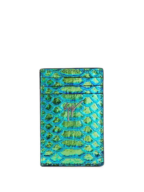Giuseppe Zanotti Albert Iridescent Python-print Cardholder In 蓝色