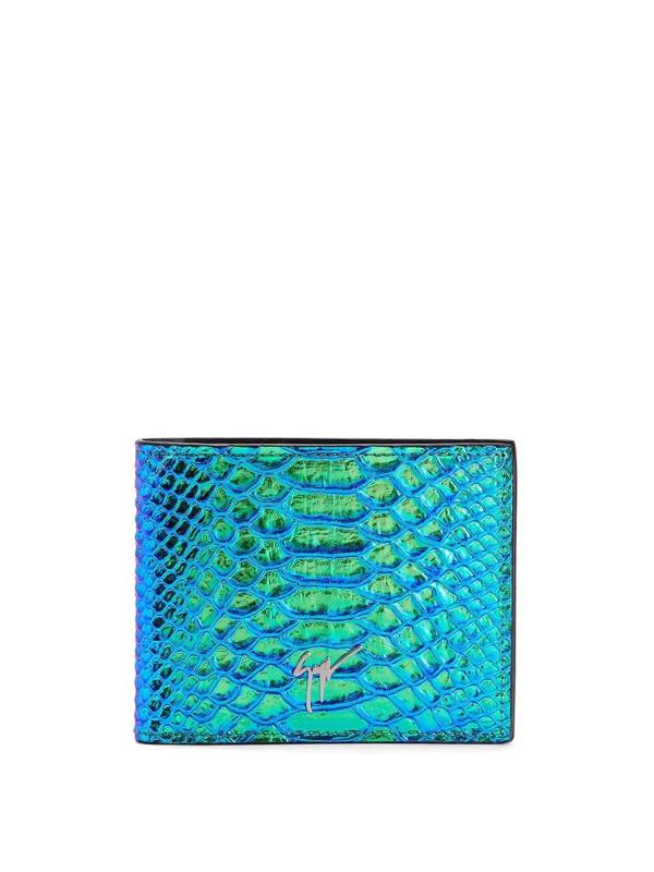 Giuseppe Zanotti Albert Iridescent Python-print Wallet In 蓝色