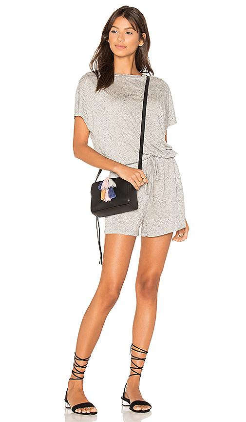 Minkpink Square Textured Tee Playsuit In Gray