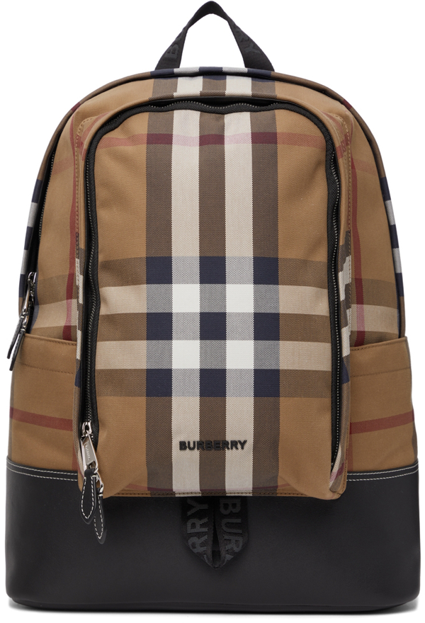 Burberry Large Brown Check Cotton Canvas And Leather Backpack In Birch Brown