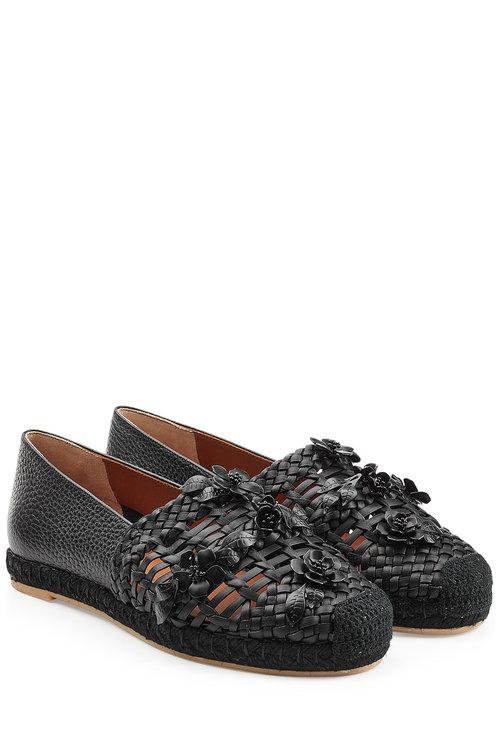 Valentino Woven Leather Loafers In Black