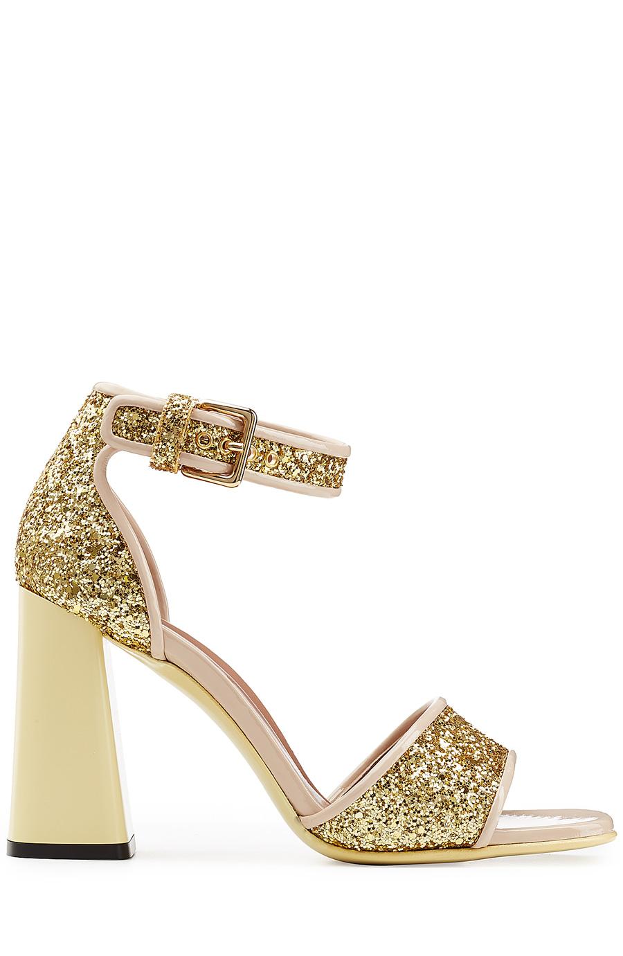 Marni Glitter High Heel Sandals In Gold