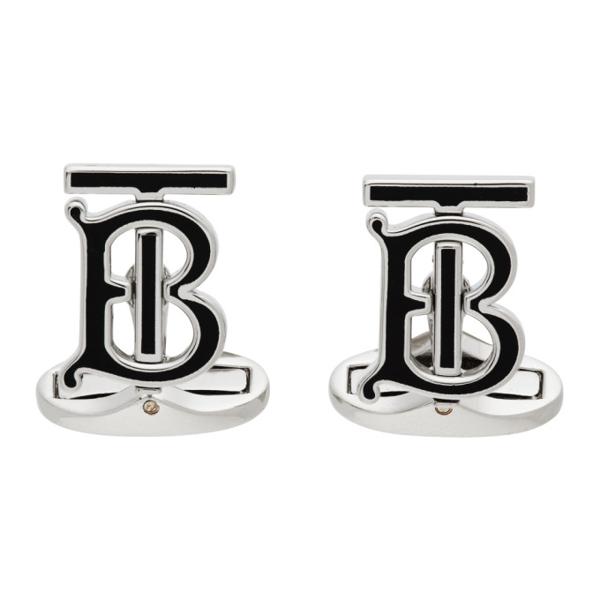 Burberry Black & Silver Monogram Motif Cuff Links In Black/ Palladio