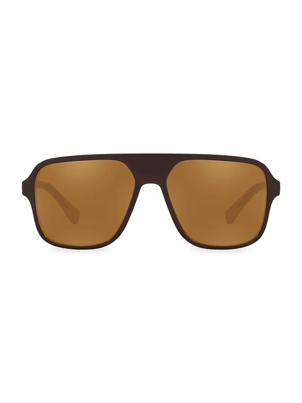 Dolce & Gabbana 57mm Gradient Navigator Sunglasses In Brown