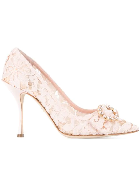 Dolce & Gabbana Belluci Crystal-Embellished Lace Pumps In Pink