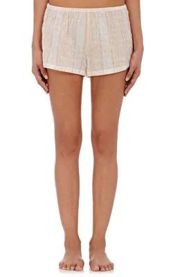 Skin Woman Crinkled Cotton-Blend Gauze Pajama Shorts Blush