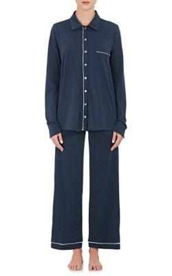 Skin Penelope Pima Cotton Pajama Set In Navy