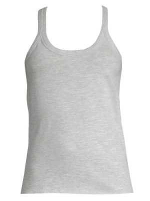 Skin Rib-Trimmed Cotton Tank Top In Gray