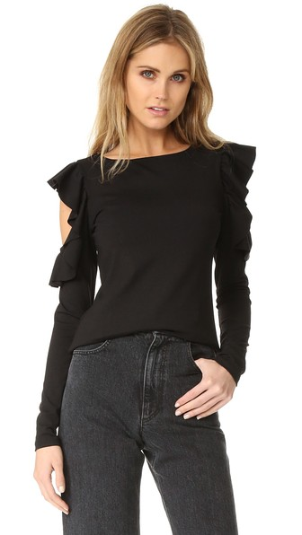 f05db267d19d9 Susana Monaco Ruffle Cold Shoulder Top In Black