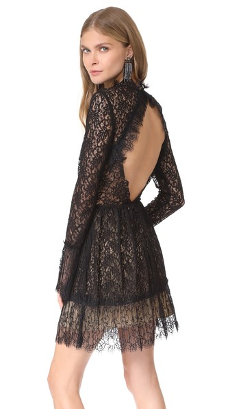 Amity Pleated Lace Dress In Black