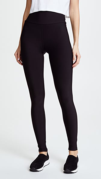 Plush High Waist Matte Fleece Leggings In Black