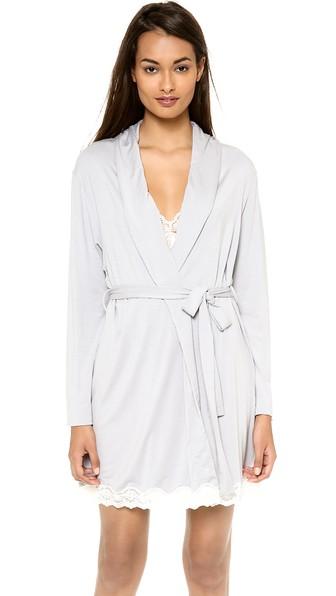 Eberjey Lady Godiva Robe In Slate/Off White