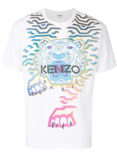 46e77f47 Kenzo Rainbow Geo Tiger Graphic T-Shirt In 01 White | ModeSens