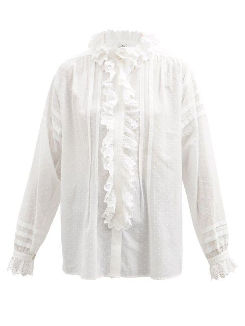 Etro Los Angeles Broderie Anglaise-ruffle Cotton Blouse In Bianco