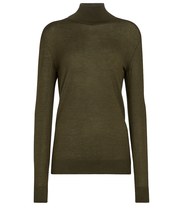 The Row Demme Cashmere & Silk Turtleneck Sweater In Deep Moss