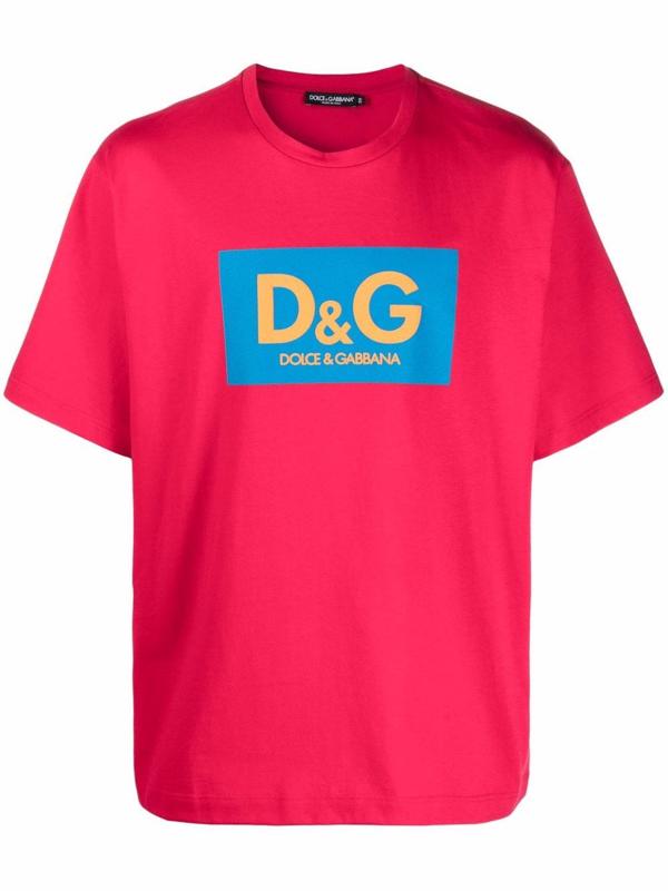 Dolce & Gabbana Color-blocked Logo Crewneck T-shirt In Rot