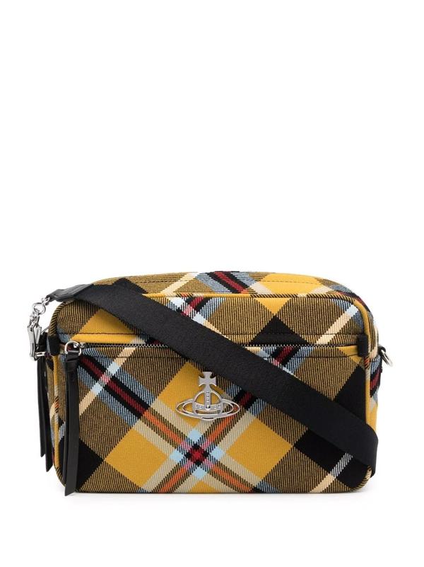 Vivienne Westwood Charlie Tartan Crossbody Camera Bag In Gelb