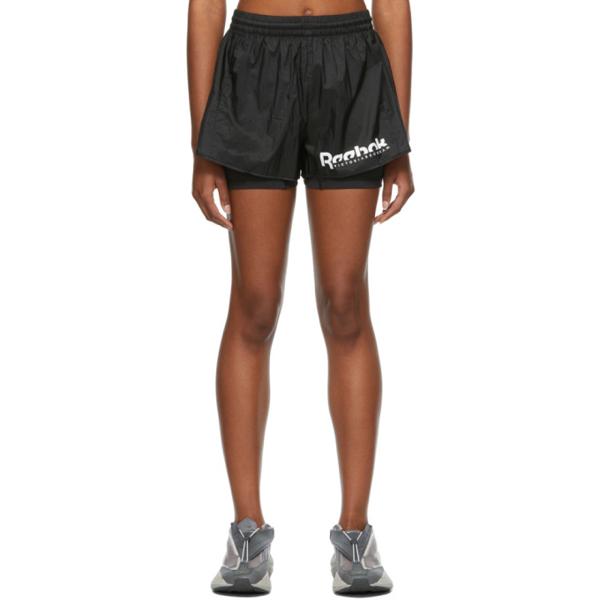 Reebok X Victoria Beckham Womens Black 2-in-1 Logo-print Shell Shorts M