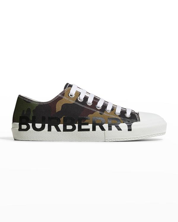 Burberry Men's Logo Camo-print Low-top Sneakers In Mangrove Green