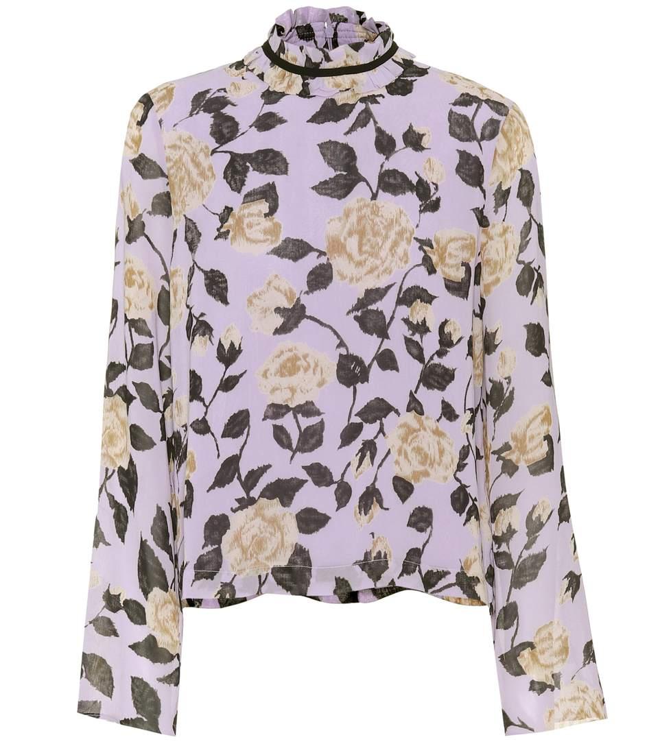 36f09d25 Ganni Carlton Georgette Floral Blouse In Pastel Lilac   ModeSens