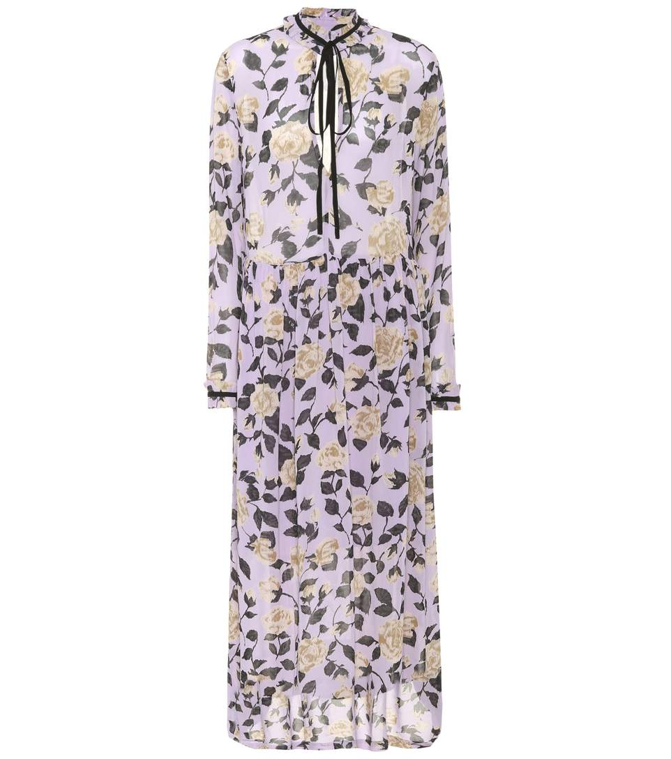 855e8e62 Ganni Carlton Pussy-Bow Floral-Print Georgette Maxi Dress In Pastel Lilac