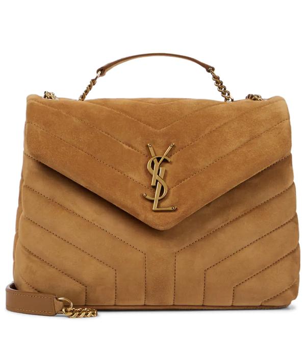 Saint Laurent Womens Tan Loulou Small Suede Shoulder Bag In Brown