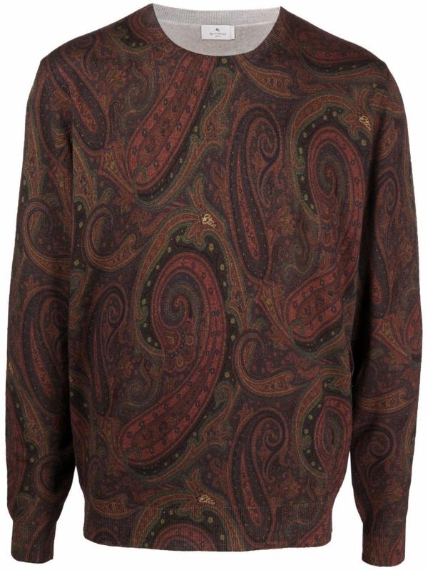 Etro Brown Woolmark Sweater In Burgundy