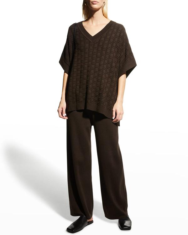 Natori Umeda Sweater Knit Poncho Top In Espresso