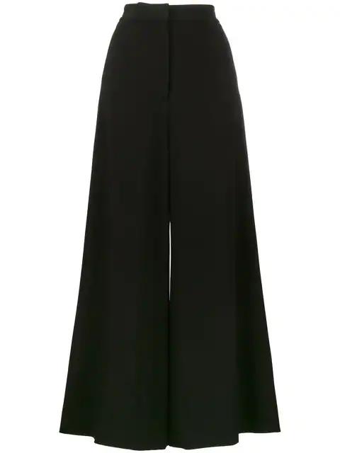 Stella Mccartney CrÊPe Wide-Leg Trousers In Black