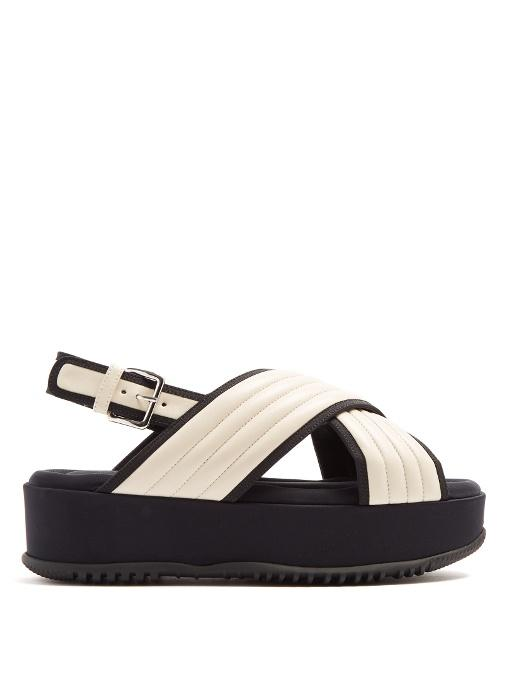 966d99cb50c0 Marni Quilted-Leather Cross-Strap Flatform Sandals In White Multi ...