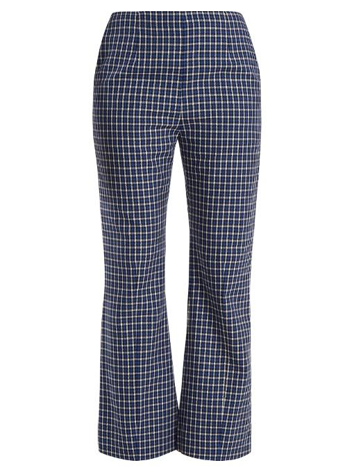 Marni Checked Kick Flared Wool Trousers In Blue Multi