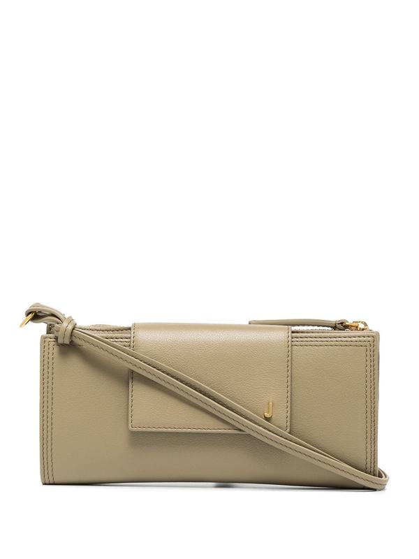 Jacquemus Khaki Le Pichoto Leather Mini Bag In Green