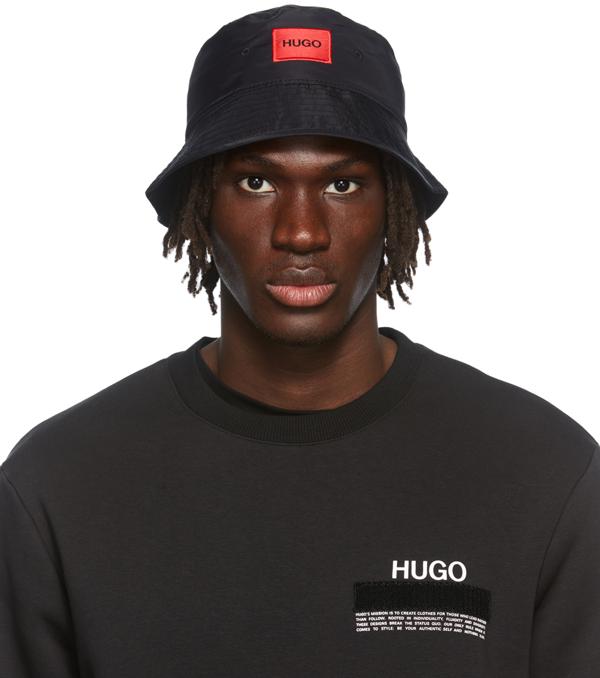 Hugo Contrast Box Logo Bucket Hat In Black In 1 Black