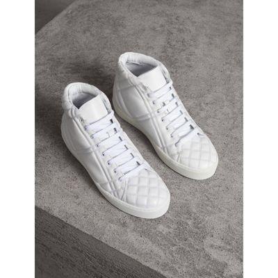 Burberry Hohe Sportschuhe Aus Leder Im Karosteppdesign In White