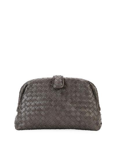 8c00b37f08 Bottega Veneta Lauren Metallic Intrecciato Leather Clutch In Dark Grey